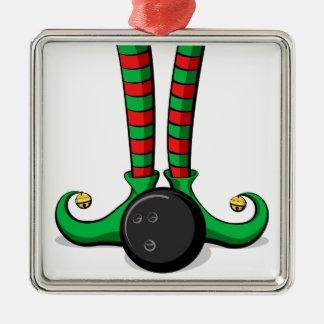 Ornement Carré Argenté Pieds d'Elf de Noël de bowling