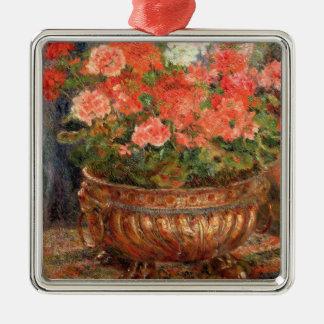 Ornement Carré Argenté Pierre géraniums de Renoir un | dans un bassin de