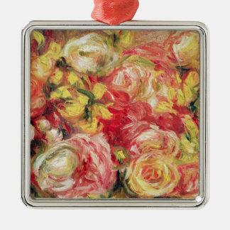 Ornement Carré Argenté Pierre roses de Renoir un  
