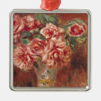 Ornement Carré Argenté Pierre roses de Renoir un | dans un vase