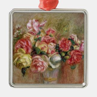 Ornement Carré Argenté Pierre roses de Renoir un | dans un vase à Sevres