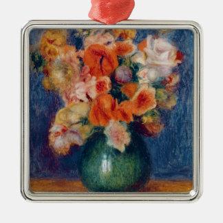 Ornement Carré Argenté Pierre un bouquet de Renoir  