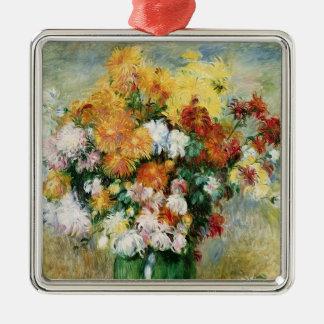 Ornement Carré Argenté Pierre un bouquet de Renoir | des chrysanthèmes