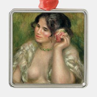 Ornement Carré Argenté Pierre un Renoir | Gabrielle avec un rose