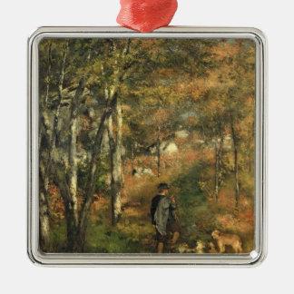 Ornement Carré Argenté Pierre un Renoir | Jules Le Coeur dans la forêt