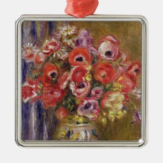Ornement Carré Argenté Pierre un vase à Renoir | de tulipes et d'anémones