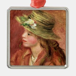 Ornement Carré Argenté Pierre une jeune fille de Renoir   dans un chapeau