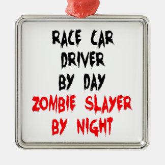 Ornement Carré Argenté Pilote de voiture de course de tueur de zombi
