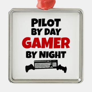 Ornement Carré Argenté Pilote par le Gamer de jour par nuit