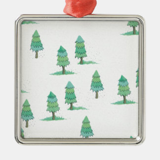 Ornement Carré Argenté pines winter plus forest