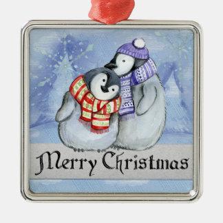 Ornement Carré Argenté Pingouins doux d'hiver de Joyeux Noël petits