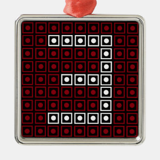 Ornement Carré Argenté Pixel à 8 bits rouge, blanc et noir à la mode