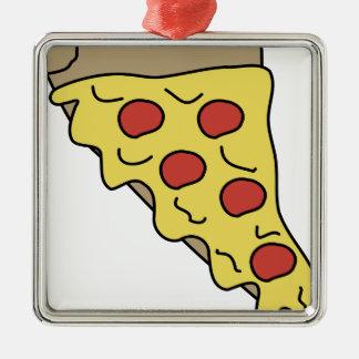 Ornement Carré Argenté Pizza de Melty