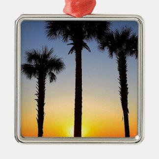 Ornement Carré Argenté Plage de ciel de palmier d'aube d'aube de lever de