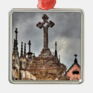 Ornement Carré Argenté Plan rapproché croisé de cimetière, Portugal