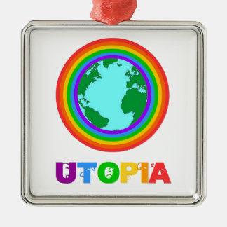 Ornement Carré Argenté Planète Utopia