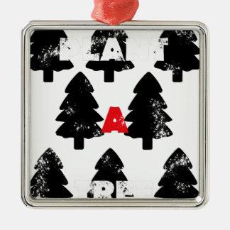 Ornement Carré Argenté Plantez le motif d'arbre d'A