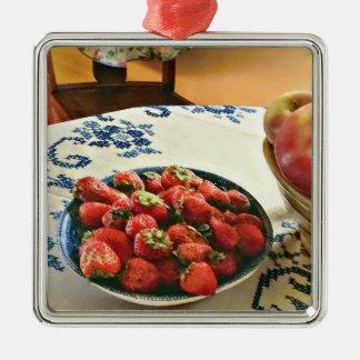 Ornement Carré Argenté Plat des fraises