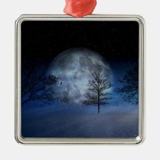 Ornement Carré Argenté Pleine lune parmi les cimes d'arbre