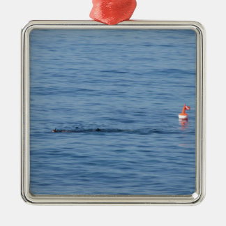 Ornement Carré Argenté Plongeur de mer dans le bain de costume de