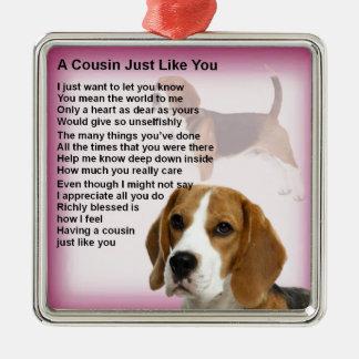 Ornement Carré Argenté Poème de cousin de conception de beagle