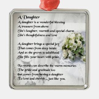Ornement Carré Argenté poème de fille   de bouquet de mariage