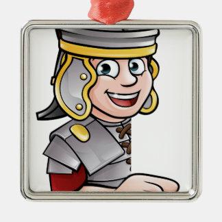 Ornement Carré Argenté Pointage romain de soldat