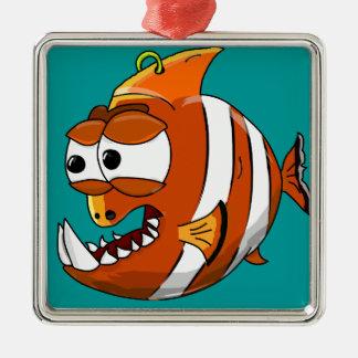 Ornement Carré Argenté poissons