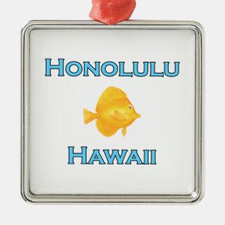 Ornement Carré Argenté Poissons jaunes de Honolulu Hawaï Tang