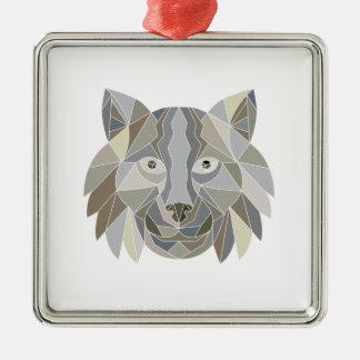 Ornement Carré Argenté Polygone de tête de chat de Lynx bas