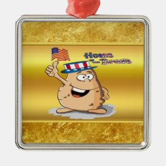 Ornement Carré Argenté Pomme de terre patriotique avec le casquette