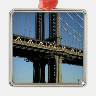 Ornement Carré Argenté Pont New York Manhattan Brooklyn