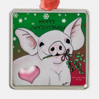 Ornement Carré Argenté Porc mignon avec l'ornement de gui