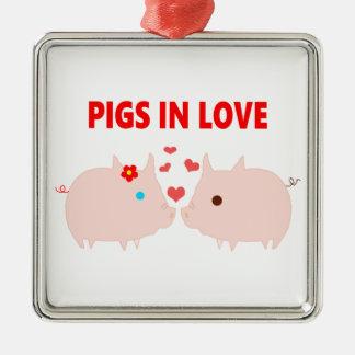 Ornement Carré Argenté porcs dans l'amour
