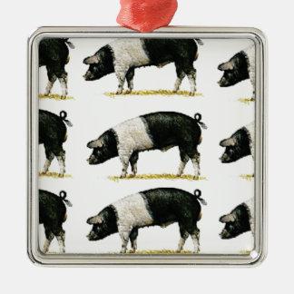 Ornement Carré Argenté porcs dans une rangée
