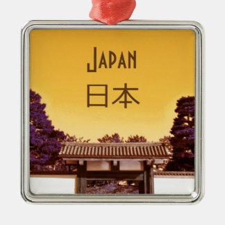 Ornement Carré Argenté Porte de temple à Tokyo, Japon