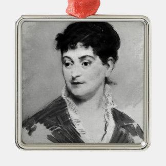 Ornement Carré Argenté Portrait de Manet   de Madame Emile Zola, 1874