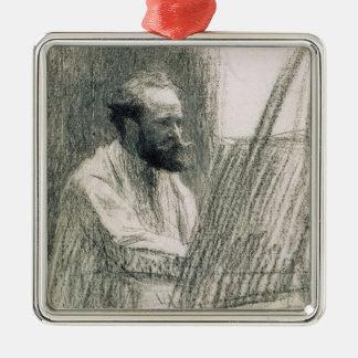 Ornement Carré Argenté Portrait de Manet | d'Edouard Manet à son chevalet