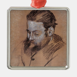 Ornement Carré Argenté Portrait d'Edgar Degas | de Diego Martelli