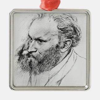 Ornement Carré Argenté Portrait d'Edgar Degas | d'Edouard Manet
