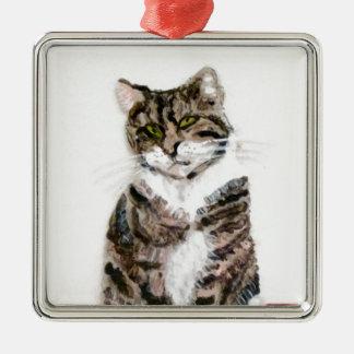 Ornement Carré Argenté Portrait mignon d'animal familier de chat tigré