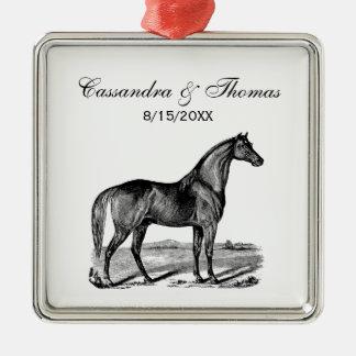 Ornement Carré Argenté Position vintage de cheval