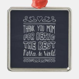Ornement Carré Argenté Pour la meilleure maman dans l'ornement du monde |