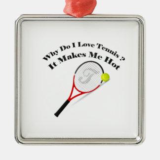 Ornement Carré Argenté Pourquoi font le tennis d'amour d'I. Il me rend