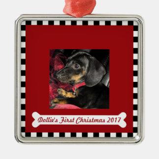 Ornement Carré Argenté Première photo de ~ de Noël du chien
