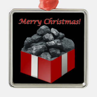 Ornement Carré Argenté Présent de charbon de Joyeux Noël