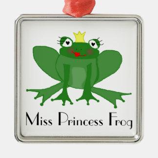 Ornement Carré Argenté Princesse mignonne Frog