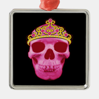 Ornement Carré Argenté Princesse rose Skull
