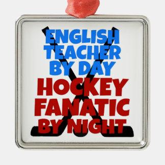 Ornement Carré Argenté Professeur d'Anglais d'amant d'hockey