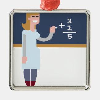 Ornement Carré Argenté Professeur de maths